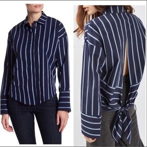 TOP SHOP blue stripe tie back button up shirt 12